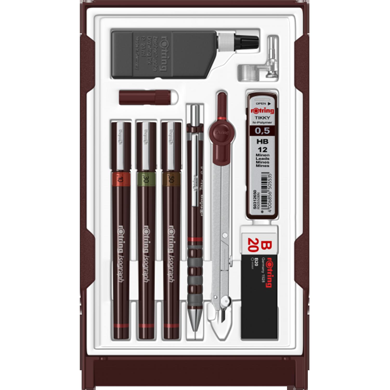 Set Rotring 3 stilouri iso +creion mecanic tikky+tus+compas S0699420