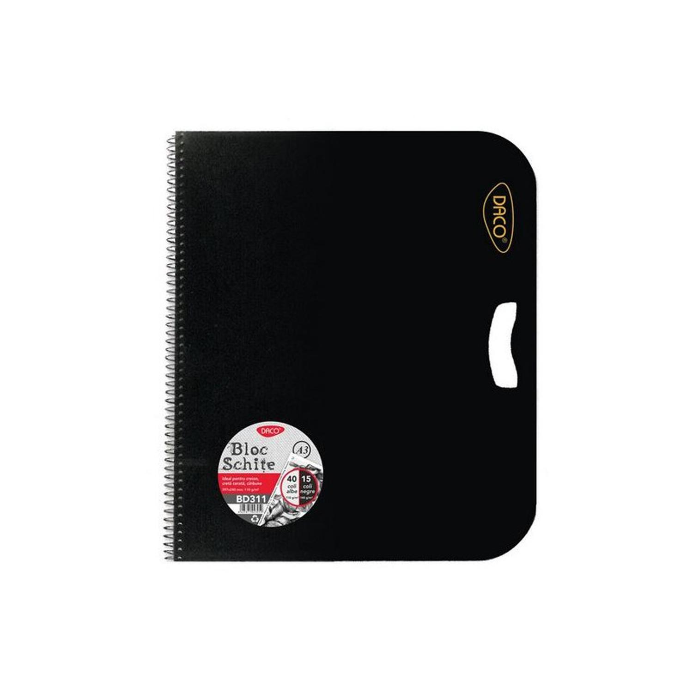 Bloc A3 schite Daco alb-negru 55 file BD311