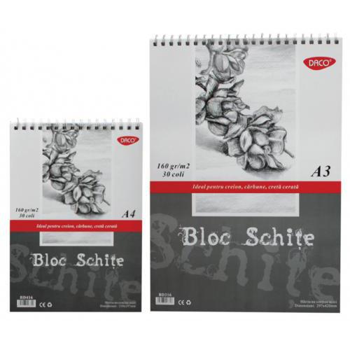 Bloc desen schite A4, 160g/mp Daco 4274