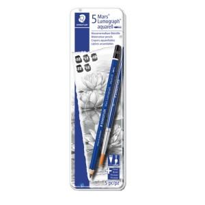 Creion Mars Lumograf Aqua 100 + pensula 5/set ST-100A-G6