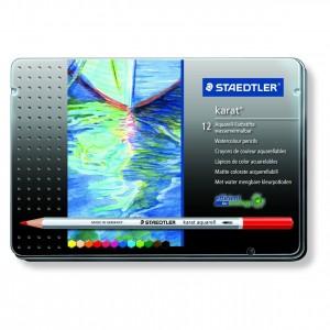 Creioane colorate Staedtler Karat Aquarell 12 culori / cutie metalica ST-125-M12
