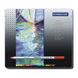 Creioane colorate Staedtler Karat Aquarell 24 culori / cutie metalica ST-125-M24