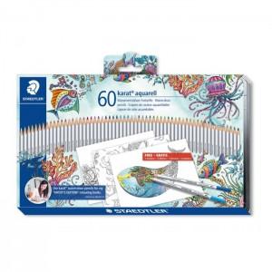 Creioane colorate Staedtler Karat Aquarell 60 culori / cutie metalica ST-125-M60