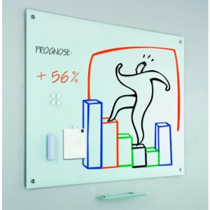 Whiteboard din sticla SMIT 90x120cm (burete+5 magneti+tavita markere incluse) 14600209