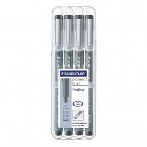 Set pigment liner 4 dimensiuni Staedtler ST-308-WP4