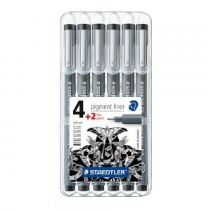 Set pigment liner 4 dimensiuni + 2 gratis Staedtler ST-308-SB6P