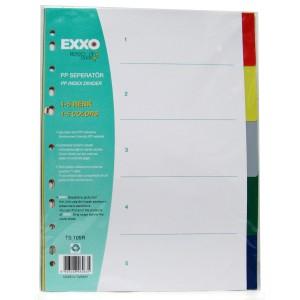 Separatoare din plastic cu index color Exxo 1x5 culori E1457