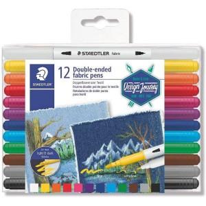 Marker permanent Staedtler textil cu 2 capete 12 culori/set ST-3190-TB12