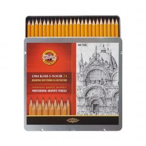 Set creioane grafit K1500 Koh-i-Noor Arta 8B-10H cutie metalica K1504-24