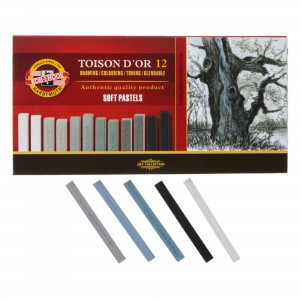 Set creta uscata patrata Toison D`Or nuante gri 12 culori/set K8592-12G