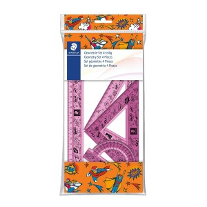 Trusa geometrie Staedtler comics (raport,rigla 30cm, 2 echere) ST-569-PB4-CO15