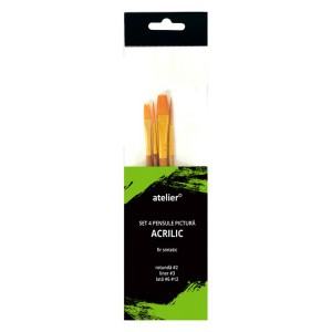 Set Atelier 4 pensule pictura acrilice AT20024