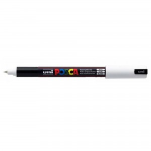 Marker Uni PC-1MR Posca 0.7 mm varf fin metalic alb M839