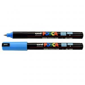 Marker Uni PC-1MR Posca 0.7 mm varf fin metalic albastru deschis M482
