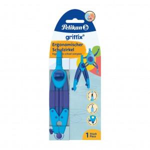 Compas scolar ergonomic griffix, culoare albastru, Pelikan 700818
