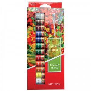 Tempera 12 culori acrilice Daco CU312