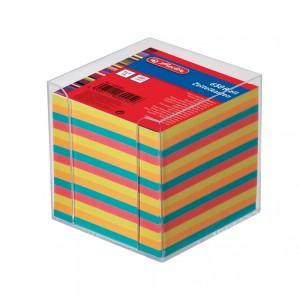 Bloc notite color cu suport de plastic 9X9X9 650 file Herlitz 1600253