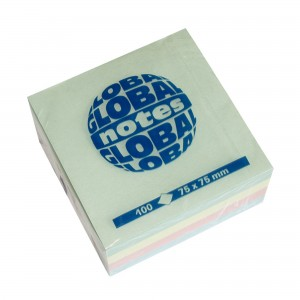 Notes adeziv 75x75mm 100 file 4 culori pastel Global Notes 15234