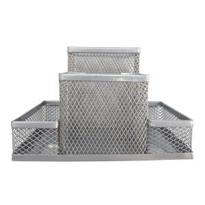 Suport birou metalic 4 compartimente Ecada argintiu 95004AG