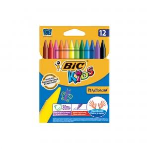 Creioane colorate cerate 12 culori Plastidecor Bic CRECCPD