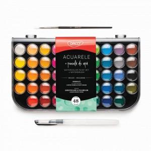 Acuarele 48 culori Daco cu pensula de apa AR480