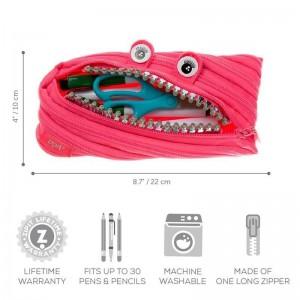 Penar cu fermoar, ZIPIT Grillz Monster roz cu dinti argintii ZP141452