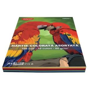 Hartie colorata  A4 80gr/mp, 100coli/top 10culori Daco HR801