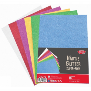 Hartie gliter super fina A4 culori / set Daco CN272