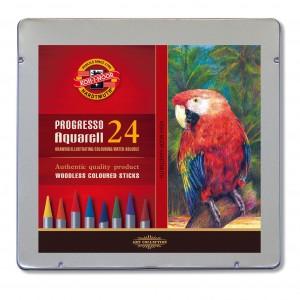 Set creioane fara lemn Progresso Aquarell 24 culori/cutie metalica K8784-24