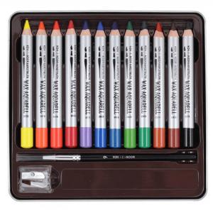 Set creioane Wax Aquarell 12 culori/cutie metalica K8282-12
