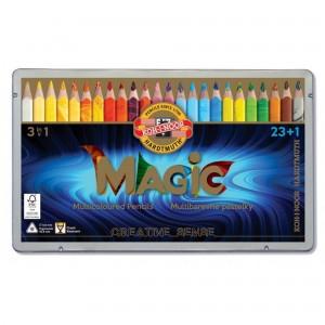Set creioane triunghiulare Magic Jumbo 24 culori/cutie metalica K3408-24