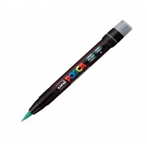 Marker pensula Uni Posca Brush PCF-350 K verde M428