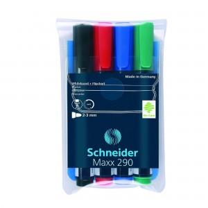 Marker whiteboard si flipchart Schneider 290, 4buc/set 2932
