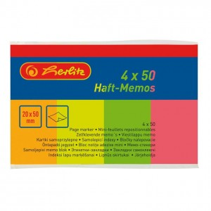 Notes adeziv 20 x 50 mm 4 culori x 50 file neon Herlitz 790642