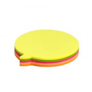 Notes adeziv forma balon, 75x75mm, 5 culori neon x 20coli, 100 coli/bl. N103