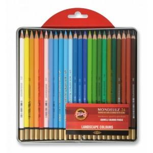 Set creioane Aquarell Mondeluz 24 culori/cutie metalica peisaj K3724-24L