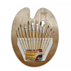 Pensule Daco pe paleta de lemn 12 buc / set PN012