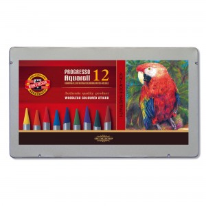 Set creioane fara lemn Progresso Aquarell 12 culori/cutie metalica K8782-12