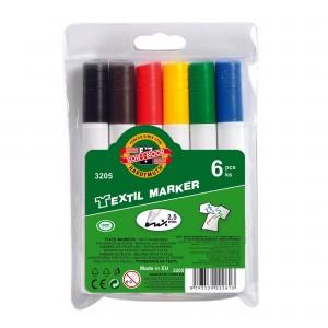 Set markere textile Koh-i-Noor 6 culori/set K3205-06