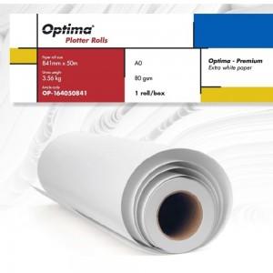 Rola plotter A0, 80gr, 841mm x 50m, Optima Premium OP164050841