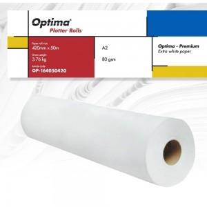 Rola plotter A2, 80gr, 420mm x 50m, Optima  Premium OP164050420