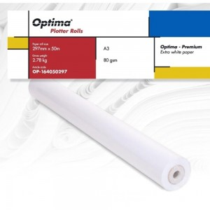 Rola plotter A3, 80gr, 297mm x 50m, Optima Premium OP164050297