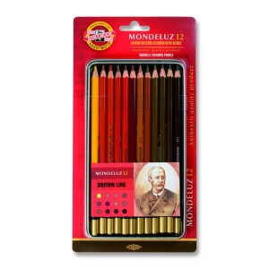 Set creioane Aquarell Mondeluz nuante maro 12 culori/set K3722-12M