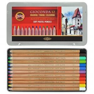 Set creioane Pastel uscat Gioconda Koh-i-Noor 12culori/cutie metalica K8827-12
