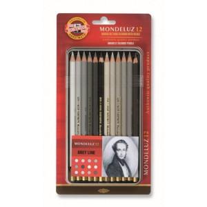 Set creioane Aquarell Mondeluz nuante gri 12 culori/set K3722-12G