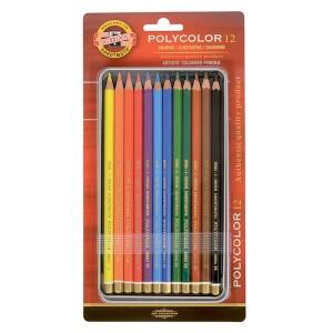 Set creioane Polycolor 12 culori/cutie metalica K3822-12