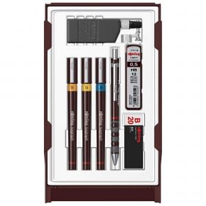 Trusa Rotring Isograph College 3 stilouri 0.2/ 0.35/ 0.7 + creion mecanic Tikky + tus S0699400