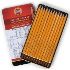 Set creioane grafit K1500 Koh-i-Noor Arta HB-10H cutie metalica K1502-7