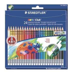 Creioane colorate Staedtler 24 culori / set cu radiera ST14450NC24