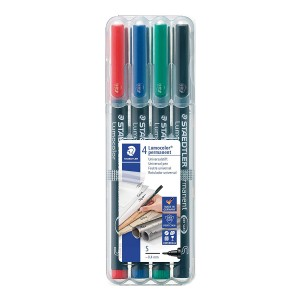Set markere Lumocolor Staedtler 0.4 mm S permanent 4 culori ST-313-WP4